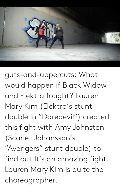 """elektra: guts-and-uppercuts: What would happen if Black Widow and Elektra fought? Lauren Mary Kim (Elektra's stunt double in """"Daredevil"""") created this fight with Amy Johnston (Scarlet Johansson's """"Avengers"""" stunt double) to find out.It's an amazing fight. Lauren Mary Kim is quite the choreographer."""