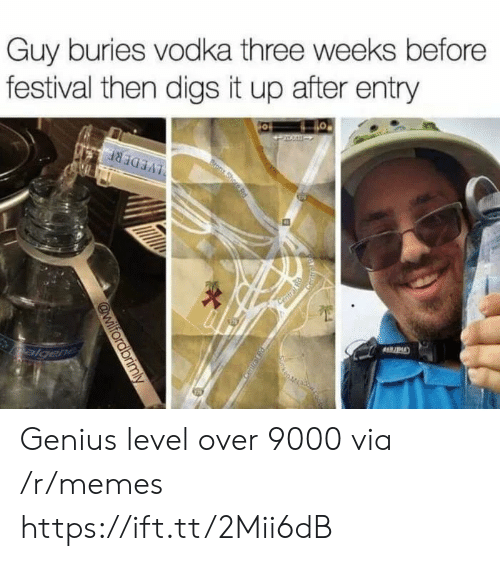 over 9000: Guy buries vodka three weeks before  festival then digs it up after entry Genius level over 9000 via /r/memes https://ift.tt/2Mii6dB
