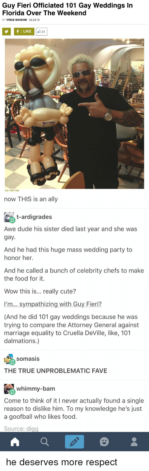 Cute, Dude, and Food: Guy Fieri officiated 101 Gay Weddings In  Florida Over The Weekend  BY  VINCE MANCINI 02.24.15  f I LIKE  24  VIA TWITTER   now THIS is an ally  t-ardigrades  Awe dude his sister died last year and she was  gay.  And he had this huge mass wedding party to  honor her.  And he called a bunch of celebrity chefs to make  the food for it.  Wow this is  really cute?  I'm... sympathizing with Guy Fieri?  (And he did 101 gay weddings because he was  trying to compare the Attorney General against  marriage equality to Cruella Deville, like, 101  dalmations.)  SomasIS  THE TRUE UN PROBLEMATIC FAVE  whimmy-bam  Come to think of it I never actually found a single  reason to dislike him. To my knowledge he's just  a goofball who likes food.  Source: digg  a he deserves more respect