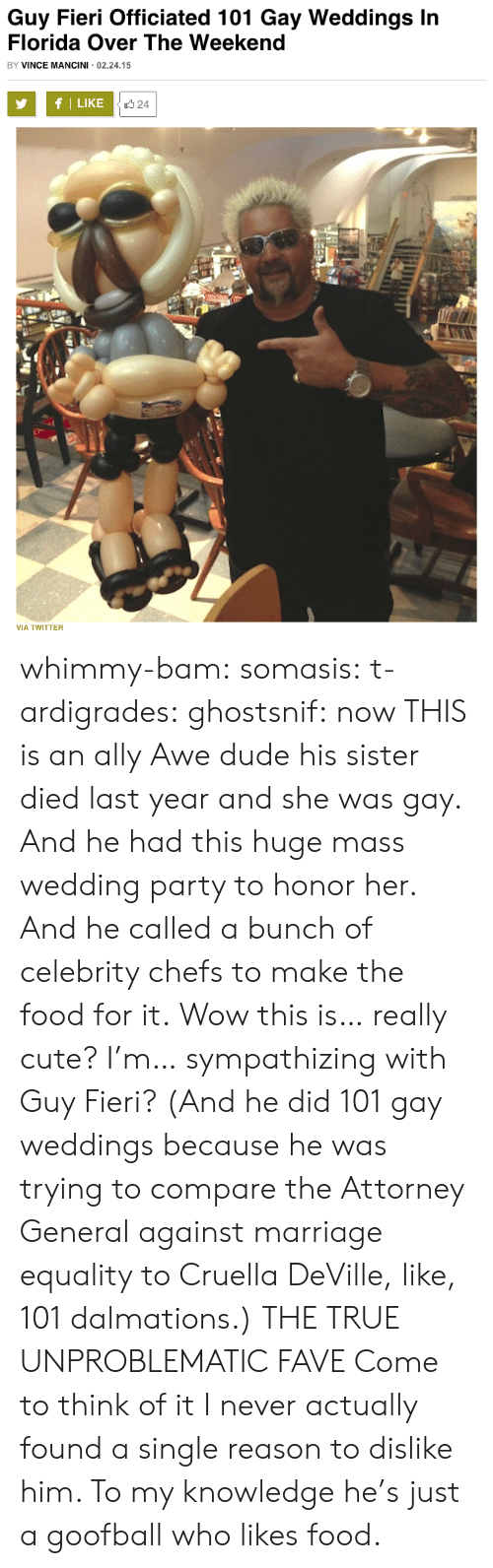 Cute, Dude, and Food: Guy Fieri Officiated 101 Gay Weddings In  Florida Over The Weekend  BY VINCE MANCINI 02.24.15  fl LIKE  24  VIA TWITTER whimmy-bam: somasis:  t-ardigrades:  ghostsnif:  now THIS is an ally  Awe dude his sister died last year and she was gay. And he had this huge mass wedding party to honor her. And he called a bunch of celebrity chefs to make the food for it. Wow this is… really cute? I'm… sympathizing with Guy Fieri? (And he did 101 gay weddings because he was trying to compare the Attorney General against marriage equality to Cruella DeVille, like, 101 dalmations.)  THE TRUE UNPROBLEMATIC FAVE  Come to think of it I never actually found a single reason to dislike him. To my knowledge he's just a goofball who likes food.