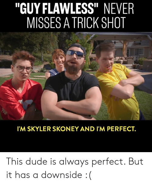 "Dank, Dude, and Never: ""GUY FLAWLESS"" NEVER  MISSES A TRICK SHOT  Il  I'M SKYLER SKONEY AND I'M PERFECT. This dude is always perfect. But it has a downside :("