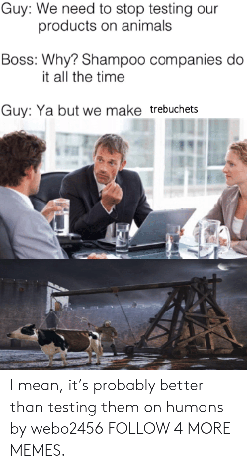 trebuchets: Guy: We need to stop testing our  products on animals  Boss: Why? Shampoo companies do  it all the time  Guy: Ya but we make trebuchets I mean, it's probably better than testing them on humans by webo2456 FOLLOW 4 MORE MEMES.