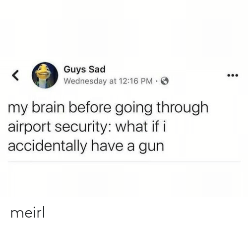 Brain, Wednesday, and Sad: Guys Sad  Wednesday at 12:16 PM O  my brain before going through  airport security: what if i  accidentally have a gun meirl