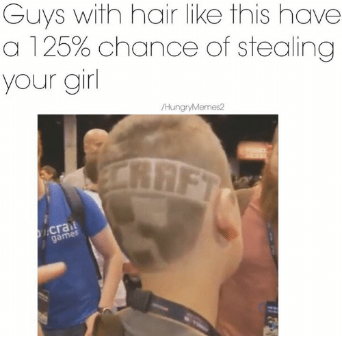 Girls, Hungry, and Meme: Guys with hair like this have  a 125% chance of stealing  your girl  Hungry Memes 2  gam