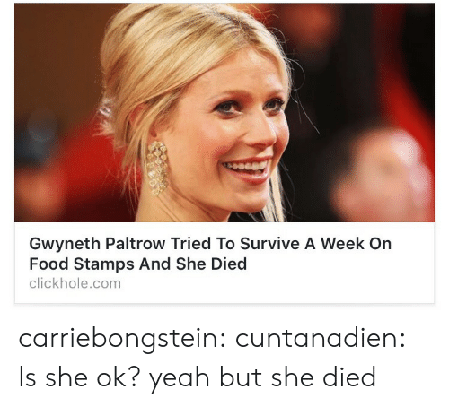 Clickhole: Gwyneth Paltrow Tried To Survive A Week On  Food Stamps And She Died  clickhole.com carriebongstein:  cuntanadien:  Is she ok?  yeah but she died