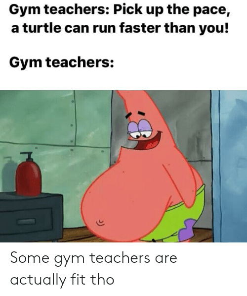 Faster Than: Gym teachers: Pick up the pace,  a turtle can run faster than you!  Gym teachers: Some gym teachers are actually fit tho