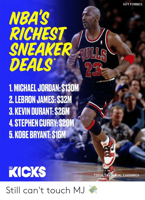 deals: H/T FORBES  NBA'S  RICHEST  SNEAKERULLS  DEALS  23  1. MICHAEL JORDAN:$130M  2. LEBRON JAMES: $32M  3.KEVIN DURANT: $26M  4.STEPHEN CURRY:$20M  5. KOBE BRYANT: $1GM  KICKS  B-R  201819ANNUAL EARNINGS Still can't touch MJ 💸