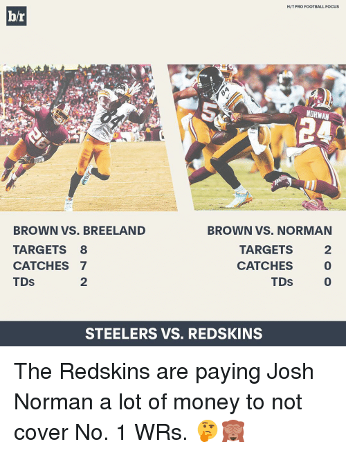 Josh Norman: H/T PRO FOOTBALL FOCUS  br  NORMAN  BROWN VS. BREELAND  BROWN VS. NORMAN  TARGETS 8  TARGETS  CATCHES 7  CATCHES  TDS  TDS  STEELERS VS. REDSKINS The Redskins are paying Josh Norman a lot of money to not cover No. 1 WRs. 🤔🙈