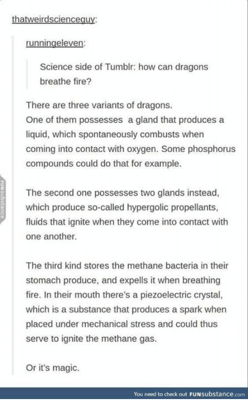 ignite: ha  runningeleven  Science side of Tumblr: how can dragons  breathe fire?  There are three variants of dragons.  One of them possesses a gland that produces a  liquid, which spontaneously combusts when  coming into contact with oxygen. Some phosphorus  compounds could do that for example.  The second one possesses two glands instead,  which produce so-called hypergolic propellants,  fluids that ignite when they come into contact with  one another.  The third kind stores the methane bacteria in their  stomach produce, and expells it when breathing  fire. In their mouth there's a piezoelectric crystal,  which is a substance that produces a spark when  placed under mechanical stress and could thus  serve to ignite the methane gas.  Or it's magic.  You need to check out FUNsubstance.com