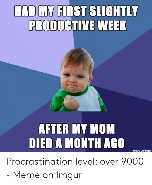 Over 9000 Meme: HAD MY FIRST SLIGHTLY  PRODUCTIVE WEEK  AFTER MY MOM  DIED A MONTH AGO  made on imgur