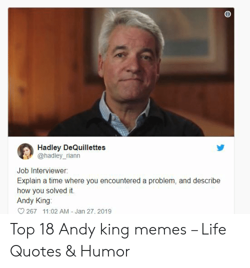 Andy King: Hadley DeQuillettes  @hadley_riann  Job Interviewer:  Explain a time where you encountered a problem, and describe  how you solved it.  Andy King  267 11:02 AM - Jan 27, 2019 Top 18 Andy king memes – Life Quotes & Humor