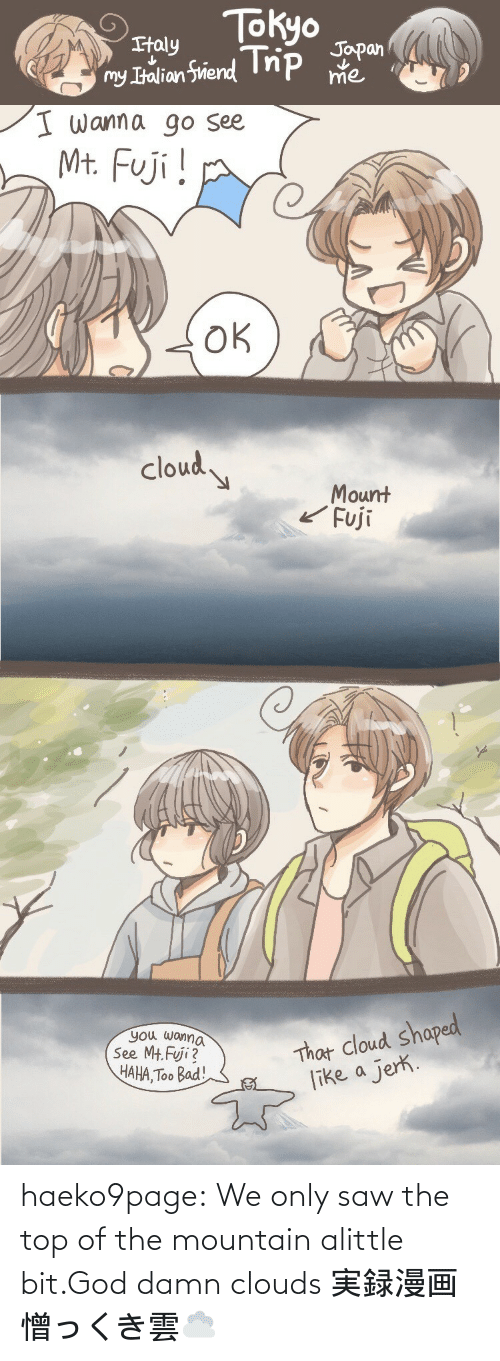 damn: haeko9page:  We only saw the top of the mountain alittle bit.God damn clouds 実録漫画憎っくき雲☁️