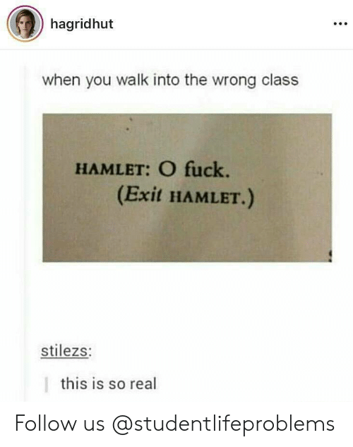 Hamlet: hagridhut  when you walk into the wrong class  HAMLET: O fuck.  (Exit HAMLET.)  stilezs:  this is so real Follow us @studentlifeproblems