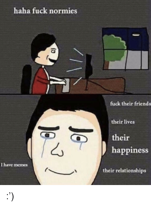 Friends, Memes, and Relationships: haha fuck normies  fuck their friends  their lives  their  happiness  I have memes  their relationships :')