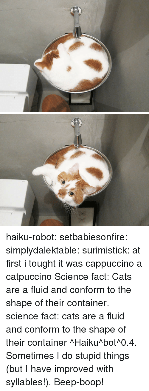 cappuccino: haiku-robot: setbabiesonfire:  simplydalektable:  surimistick:  at first i tought it was cappuccino  a catpuccino  Science fact: Cats are a fluid and conform to the shape of their container.   science fact: cats are a fluid and conform to the shape of their container ^Haiku^bot^0.4. Sometimes I do stupid things (but I have improved with syllables!). Beep-boop!