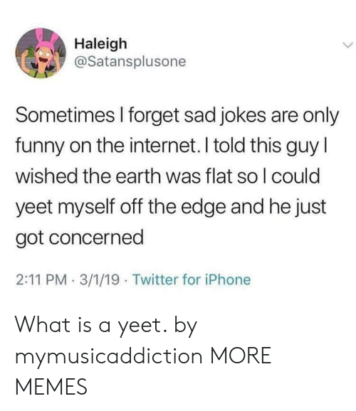 Dank, Funny, and Internet: Haleigh  @Satansplusone  Sometimes I forget sad jokes are only  funny on the internet. I told this guy l  wished the earth was flat so l could  yeet myself off the edge and he just  got concerned  2:11 PM 3/1/19 Twitter for iPhone What is a yeet. by mymusicaddiction MORE MEMES