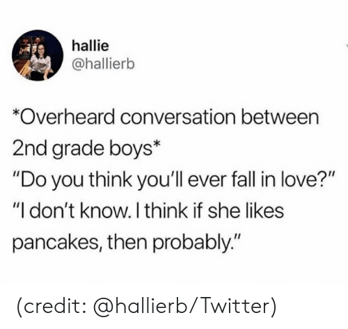 """She Likes: hallie  @hallierb  Overheard conversation between  2nd grade boys*  """"Do you think you'll ever fal in love?""""  """"I don't know. I think if she likes  pancakes, then probably."""" (credit: @hallierb/Twitter)"""