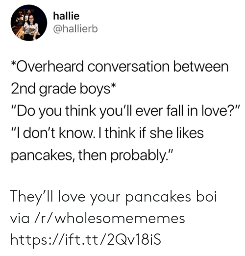"Fall, Love, and Boys: hallie  @hallierb  *Overheard conversation between  2nd grade boys*  ""Do you think you'll ever fall in love?""  ""I don't know. I think if she likes  pancakes, then probably."" They'll love your pancakes boi via /r/wholesomememes https://ift.tt/2Qv18iS"