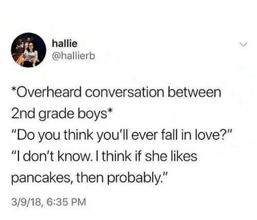 """She Likes: hallie  @hallierb  *Overheard conversation between  2nd grade boys*  """"Do you think you'll ever fall in love?""""  """"I don't know. I think if she likes  pancakes, then probably""""  3/9/18, 6:35 PM"""