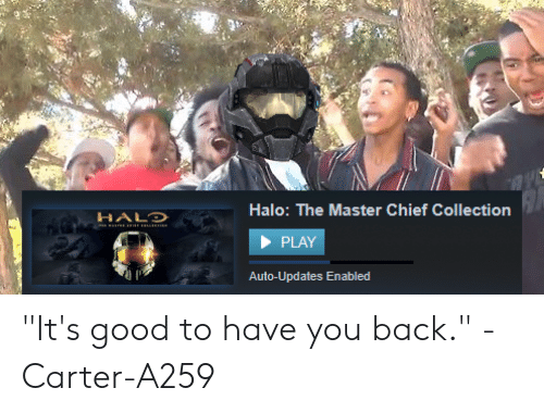 """Halo, Good, and Back: Halo: The Master Chief Collection  HALD  PLAY  Auto-Updates Enabled """"It's good to have you back."""" -Carter-A259"""