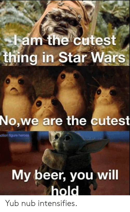 Intensifies: ham the cutest  thing in Star Wars  No,we are the cutest  ction figure heroes  My beer, you will  hold Yub nub intensifies.