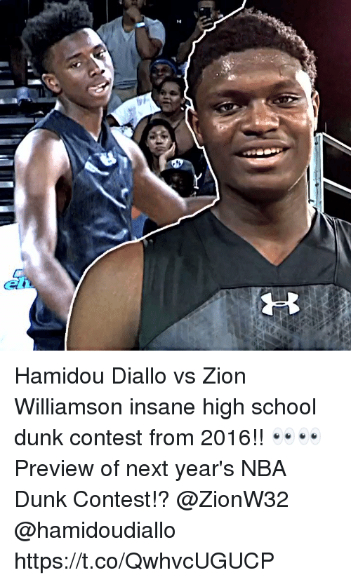 Preview: Hamidou Diallo vs Zion Williamson insane high school dunk contest from 2016!! 👀👀 Preview of next year's NBA Dunk Contest!? @ZionW32 @hamidoudiallo https://t.co/QwhvcUGUCP