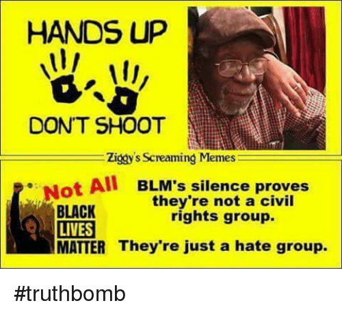hate group: HANDS UP  DONT SHOOT  Ziggy's Screaming Memes  ot All BLM's silence proves  they're not a civil  BLACK  rights group.  LIVES  MATTER They're just a hate group. #truthbomb