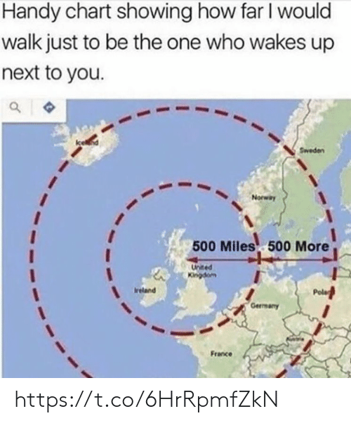 Memes, France, and Ireland: Handy chart showing how far I would  walk just to be the one who wakes up  next to you.  Sweden  Norway  500 Miles 500 More  United  Kingdom  Ireland  Gerrmany  France https://t.co/6HrRpmfZkN