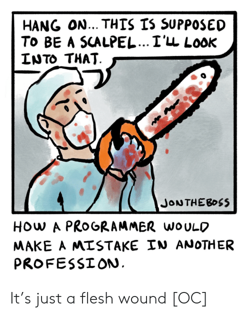 hang on: HANG ON... THIS IS SUPPOSED  To BE A SCALPEL...I'LL LooK  LNTO THAT  HOw A PROGRAMMER woULO  MAKE A MISTAKE IN ANOTHER  PROFESSION It's just a flesh wound [OC]