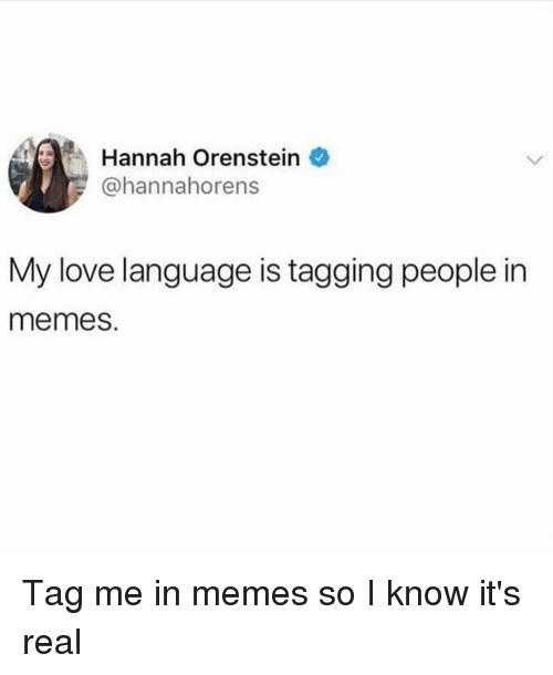 Tag Me In: Hannah Orenstein  @hannahorens  My love language is tagging people in  memes. Tag me in memes so I know it's real