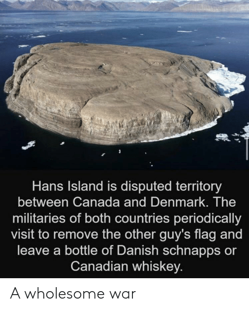 Denmark: Hans Island is disputed territory  between Canada and Denmark. The  militaries of both countries periodically  visit to remove the other guy's flag and  leave a bottle of Danish schnapps or  Canadian whiskey. A wholesome war