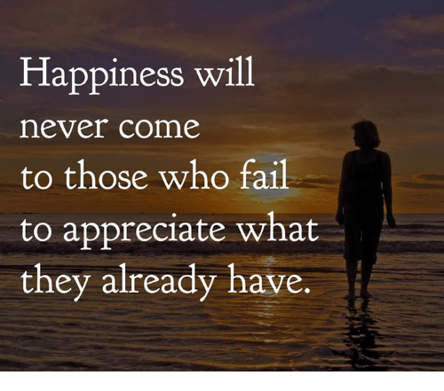 Fail, Memes, and Appreciate: Happiness will  never come  to those who fail  to appreciate what  they already have.