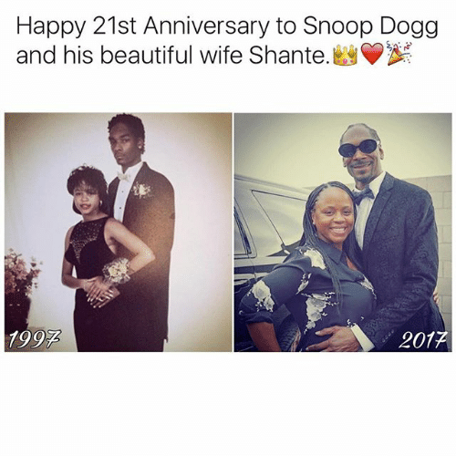 Snoop Dogge: Happy 21st Anniversary to Snoop Dogg  and his beautiful wife Shante.  1992  201