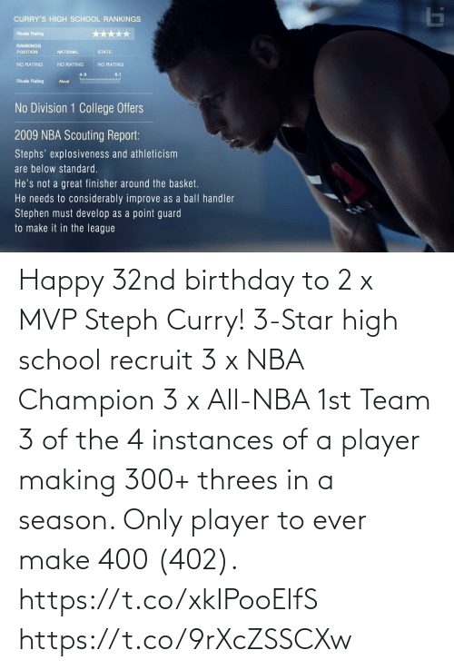 Threes: Happy 32nd birthday to 2 x MVP Steph Curry!   3-Star high school recruit 3 x NBA Champion 3 x All-NBA 1st Team 3 of the 4 instances of a player making 300+ threes in a season. Only player to ever make 400 (402).   https://t.co/xkIPooElfS https://t.co/9rXcZSSCXw