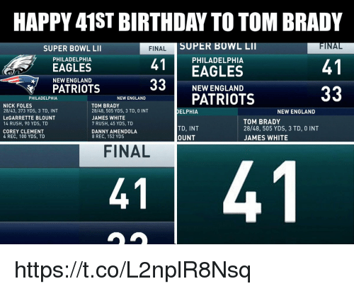 Anaconda, Birthday, and Philadelphia Eagles: HAPPY 41ST BIRTHDAY TO TOM BRADY  SUPER BOWL LII  INAL  FINALS  4EAGLES  33 NEW ENGLAND  SUPER BOWL LI  PHILADELPHIA  PHILADELPHIA  41  EAGLES  NEW ENGLAND  PATRIOTS  PATRIOTS  PHILADELPHIA  NEW ENGLAND  NICK FOLES  28/43, 373 YDS, 3 TD, INT  LEGARRETTE BLOUNT  14 RUSH, 90 YDS, TD  COREY CLEMENT  4 REC, 100 YDS, TD  TOM BRADY  28/48, 505 YDS, 3 TD, 0 INT  JAMES WHITE  7 RUSH, 45 YDS, TD  DANNY AMENDOLA  8 REC, 152 YDS  DELPHIA  NEW ENGLAND  TD, INT  OUNT  TOM BRADY  28/48, 505 YDS, 3 TD, 0 INT  JAMES WHITE  FINAL  41  41 https://t.co/L2nplR8Nsq