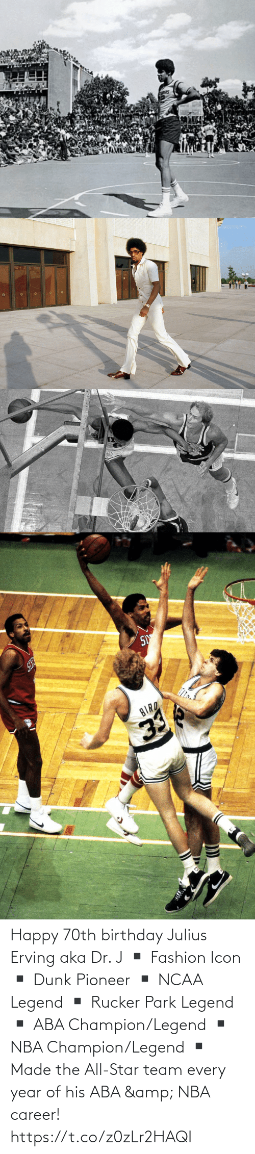 icon: Happy 70th birthday Julius Erving aka Dr. J  ▪️ Fashion Icon ▪️ Dunk Pioneer ▪️ NCAA Legend ▪️ Rucker Park Legend ▪️ ABA Champion/Legend ▪️ NBA Champion/Legend ▪️ Made the All-Star team every year of his ABA & NBA career! https://t.co/z0zLr2HAQI