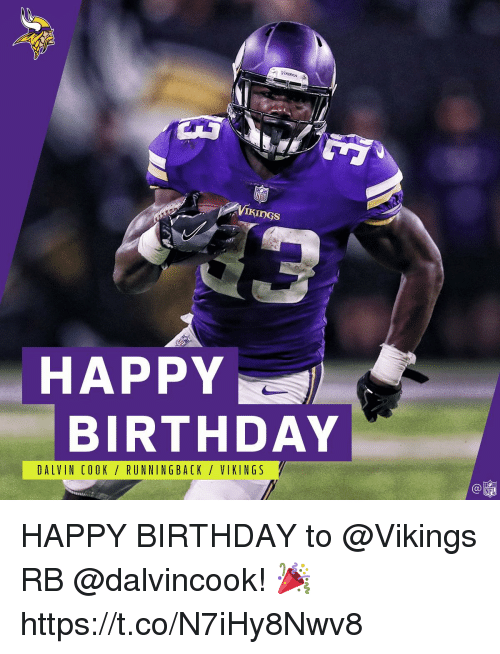 Birthday, Memes, and Nfl: HAPPY  BIRTHDAY  DALVIN COOK/RUNNINGBACK / VIKINGS  C@  NFL HAPPY BIRTHDAY to @Vikings RB @dalvincook! 🎉 https://t.co/N7iHy8Nwv8
