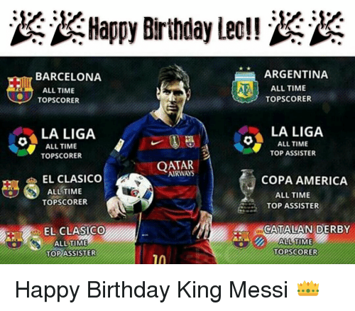 Memes, Copa America, and La Liga: Happy Birthday Leo!!  ARGENTINA  BARCELONA  AE ALL TIME  ALL TIME  TopscoRER  TOPSCORER  LA LIGA  LA LIGA  O ALL TIME  ALL TIME  TOP ASSISTER  TOPSCORER  QATAR  1  EL CLASICO  COPA AMERICA  ALL TIME  ALL TIME  TOPSCORER  TOP ASSISTER  CATALAN DERBY  EL CLASICO  ALL TIME  TOP SCORER  TOP Happy Birthday King Messi 👑