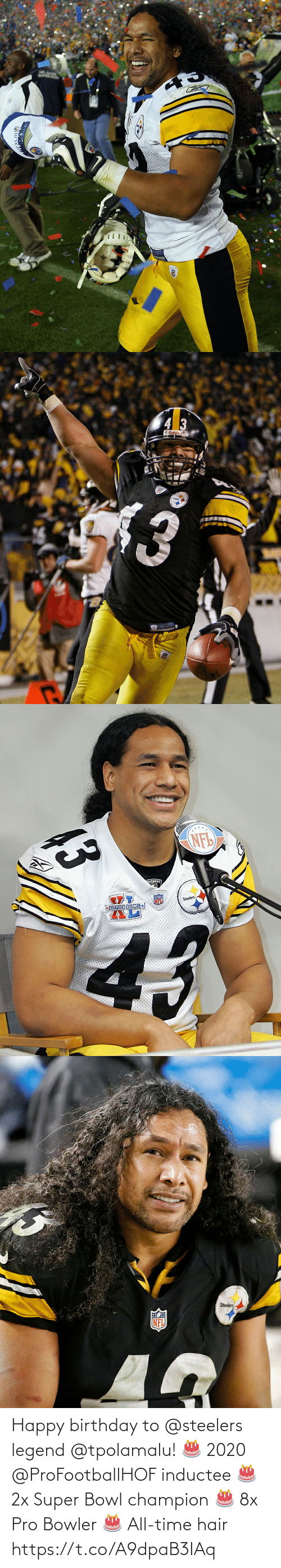 champion: Happy birthday to @steelers legend @tpolamalu! 🎂 2020 @ProFootballHOF inductee 🎂 2x Super Bowl champion 🎂 8x Pro Bowler 🎂 All-time hair https://t.co/A9dpaB3IAq