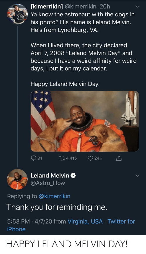 day: HAPPY LELAND MELVIN DAY!