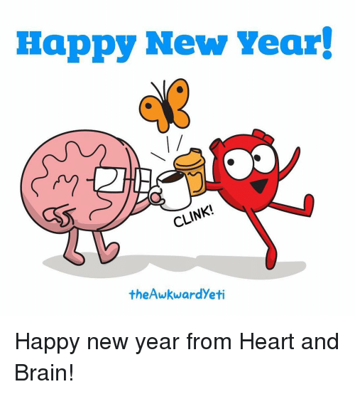 Brains, Memes, and Brain: Happy New Year!  CLI  theAwkwardyeti Happy new year from Heart and Brain!