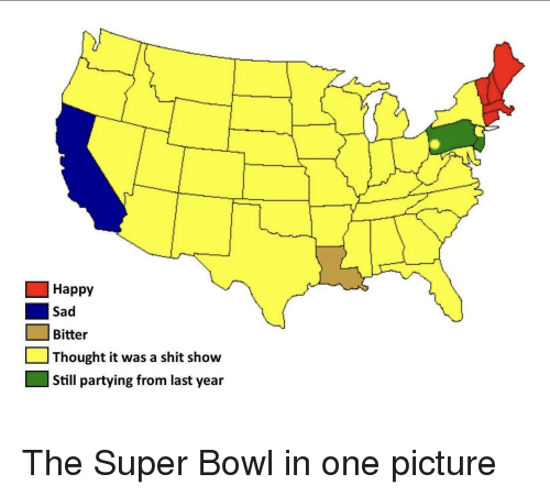 Shit, Super Bowl, and Happy: Happy  Sad  Bitter  Thought it was a shit show  Still partying from last year The Super Bowl in one picture