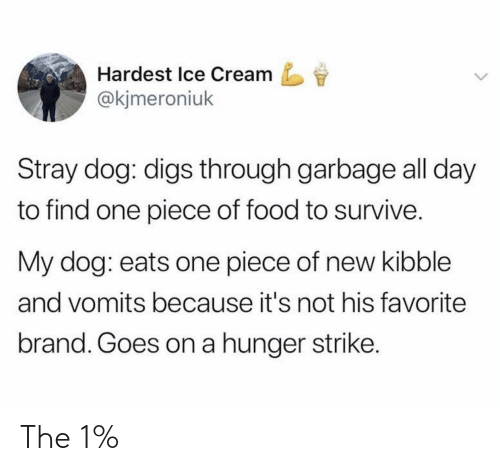 The 1: Hardest Ice Cream  @kjmeroniuk  Stray dog: digs through garbage all day  to find one piece of food to survive.  My dog: eats one piece of new kibble  and vomits because it's not his favorite  brand. Goes on a hunger strike. The 1%