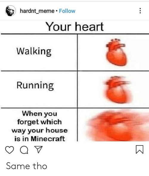 Meme, Minecraft, and Heart: hardnt_meme Follow  Your heart  Walking  Running  When you  forget which  way your house  is in Minecraft  Q V Same tho