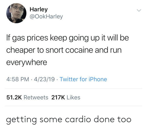snort: Harley  @OokHarley  If gas prices keep going up it will be  cheaper to snort cocaine and run  everywhere  4:58 PM-4/23/19 Twitter for iPhone  51.2K Retweets 217K Likes getting some cardio done too