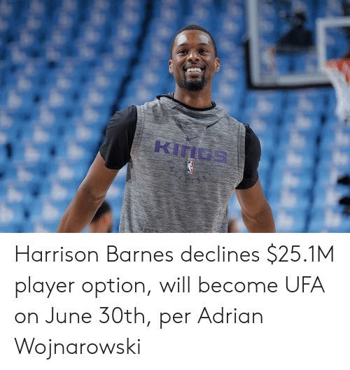 Harrison Barnes, Player, and Will: Harrison Barnes declines $25.1M player option, will become UFA on June 30th, per Adrian Wojnarowski
