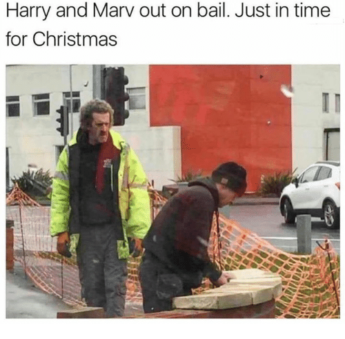 bail: Harry and Marv out on bail. Just in time  for Christmas