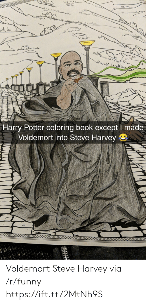 Funny, Harry Potter, and Steve Harvey: Harry Potter coloring book except I made  Voldemort into Steve Harvey Voldemort Steve Harvey via /r/funny https://ift.tt/2MtNh9S