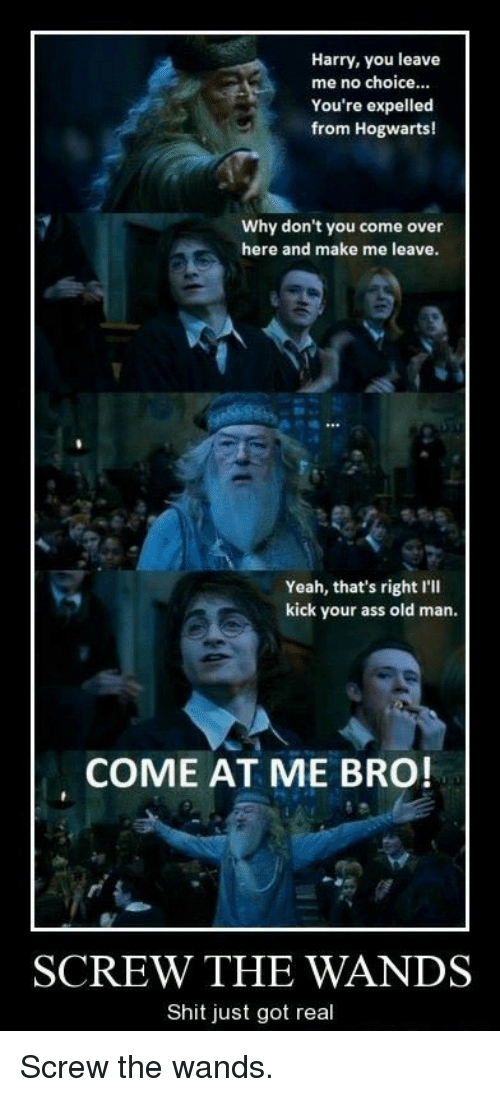 Ass, Come Over, and Old Man: Harry, you leave  me no choice.  You're expelled  from Hogwarts!  Why don't you come over  here and make me leave.  Yeah, that's right I'll  kick your ass old man.  COME AT ME BRO!  SCREW THE WANDS  Shit just got real <p>Screw the wands.</p>