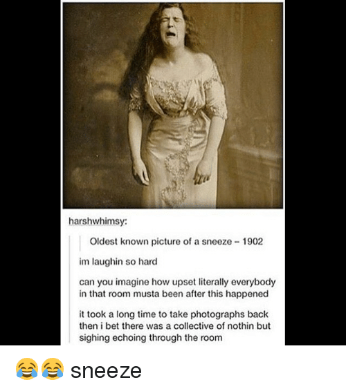 Upsetted: harshwhimsy:  Oldest known picture of a sneeze 1902  im laughin so hard  can you imagine how upset literally everybody  in that room musta been after this happened  it took a long time to take photographs back  then i bet there was a collective of nothin but  sighing echoing through the room 😂😂 sneeze